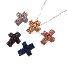 Fashion Bling Mini Colorufl Druzy Agate Cross Necklace