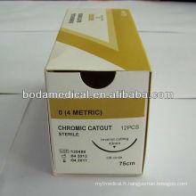 Suture absorbable suture catgut chromée