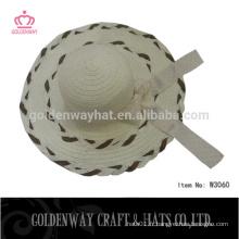 Chapeaux de dames avec bowknot plume couleur dames chapeau de soleil tissé