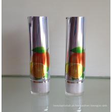 Shinning alumínio tubo embalagem cosmética com acrílica tampa Oval
