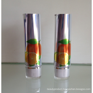 Shinning Aluminium Tube Cosmetic Packing with Acrylic Oval Cap