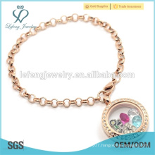 Fashion stainless steel rose gold pearl chain locket bracelet, bracelet jewelry