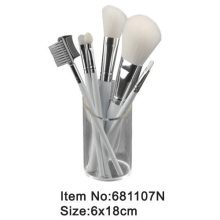 6pcs travel makeup brush kit with transparent cylinder box packing