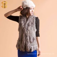 Grey Style Knitted Rabbit Fur Vest com guaxinim Fur Garnier e Tassel Fast Shipping