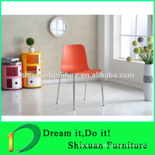 colorful stackable plastic seat metal chair