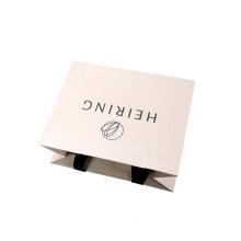 Custom Pink Embossing Logo Paper Bag with Ribbon