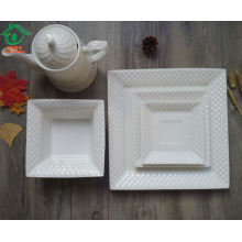 5pcs hotel use ceramic white square set warehouse