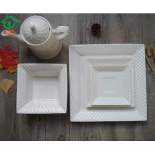 5pcs hotel uso cerâmico branco quadrado conjunto house ware