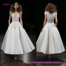 Vestido de novia de seda de la longitud del té de Faille con la blusa de Peplum bordada