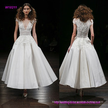 Silk Faille Tea Length Wedding Dress with Embroidered Peplum Bodice