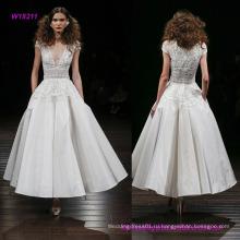 Плотная шелковая ткань чай длины свадебное платье с вышитым лифом Баской