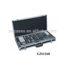 maleta de ferramentas de alumínio preto forte com inserção de espuma personalizado dentro