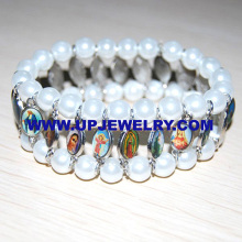 Religious Bracelet, White Glass Beads with Metal Alloy Saint Pictures