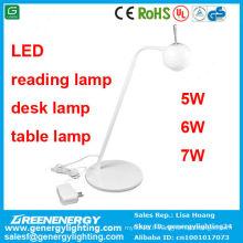 3 ans de garantie de puissance élevée Bonne qualité a mené la lampe de lecture / lampe de bureau / lampe de table 7w