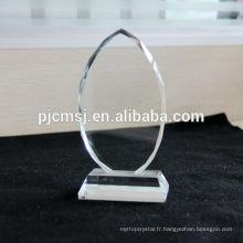 2015 en gros plaque de cristal, bloc de verre blanc, cadre photo, impression de logo couleur comme décoration de cadeau ou de souvenirs