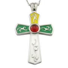 Collier pendentif religieux en acier inoxydable croisé
