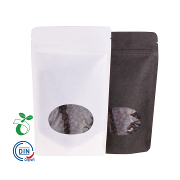 Borsa compostabile biodegradabile in carta nera con finestra trasparente