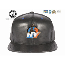 2016 Fashion New Style Era PU Leather Design Snapback Cap with Metal Emblem Logo