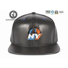 2016 Moda Novo Estilo Era PU Couro Projeto Snapback Cap com Logotipo Emblema De Metal