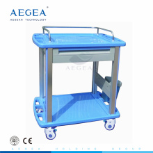 AG-CT010A3 ABS moving hospital two shelves with one drawer patient drug treatment trolley