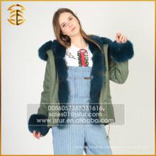 Venta directa de fábrica Real Fox mujeres chaqueta abrigo de piel de piel Parka