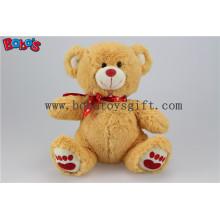 """5.1 """"Маленький коричневый цвет Я люблю тебя Фаршированная медведица с красной подушкой для сердца Bos1110"""