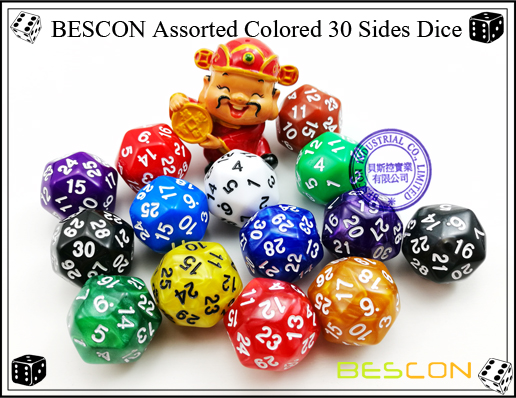 BESCON Assorted Colored 30 Sides Dice