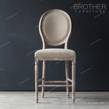 Античный круглый ткань стул французский бар