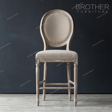 Tejido antiguo redondo atrás silla de la barra francesa