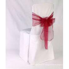 Housses polyester avec ceinture d'organza pour mariage/banquet