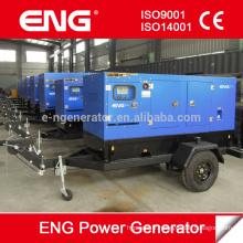 Générateur de remorque mobile Groupe électrogène diesel de type silencieux 100kva (2 x roues)