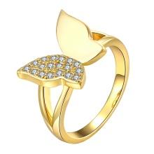 Butterfly Shape Diamond Women Ring Rose Anneaux en alliage de zircon plaqué or