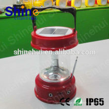 Alta qualidade Com rádio alimentado solar camping lanterna / solar camping luz