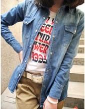 Retro nostalgia washing gradient female models in Europe and America long-sleeved denim jacket coat