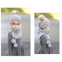 Crianças novo manual de design série tricotado acrílico chapéu e pescoço mais quente