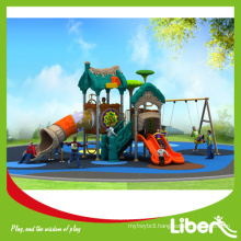 China Credit Supplier Preschool Outdoor Playground Plastic Slides and Swing, Funny Playground Plastic Slides with Swing