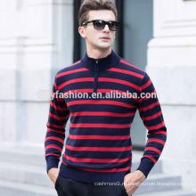 1/4 молнии мужчин мода полосы кашемировый свитер с воротником пуловер свитер