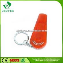 Plastic mini 1 LED flashlight led keychain with whistle