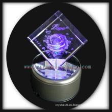 3D laser grabado rosa cubo de cristal con base Led