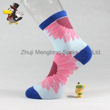 Chaussettes populaires pour femme Fashion Sunflower Patter Lady Cotton Socks
