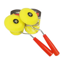 Paint Roller Brush Round Yellow Foam Roller With Red Plastic Handle for Painting