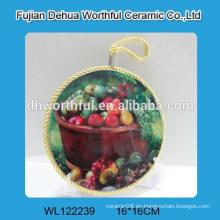 Popular titular de la olla de cerámica con diseño de frutas