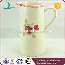 YSj0004-01 Red flower design decal ceramic bathroom jug