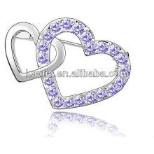 Hottest coração diamante forma de jóias por atacado broche barato