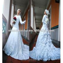 NW146 White Feminine Eine Linie Rock mit langen Trompeten Ärmel Hot Sell Islamic Muslim Brautkleid