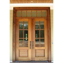 Puertas de madera de entrada de vidrio doble de Russtic, puertas de madera de entrada