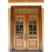 Portas de madeira da entrada de vidro dobro de Russtic, portas de madeira da entrada