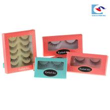 custom false eye lash packaging box pink with logo