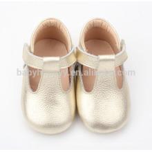 Zapatos de cuero puros del bebé de la danza de la sola de la venta al por mayor del cuero puro
