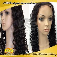 Pelucas delanteras del pelo humano de la peluca del frente del cordón del rizo del pelo virginal peruano